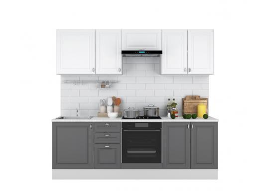 Кухня Ева 2.4 Белый Софт/Графит Софт
