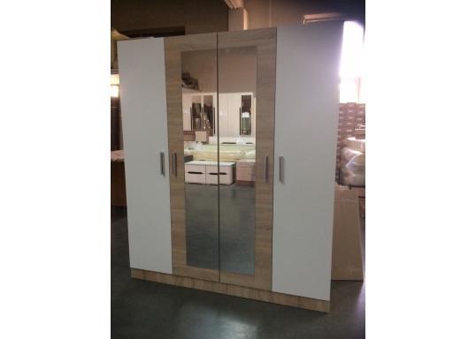 Шкаф Леси 4-х створчатый (Сонома/Белый)