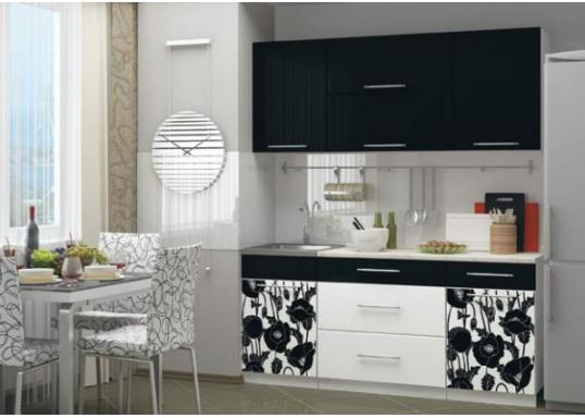 Кухня с фотопечатью Маки (1.8м) Черные