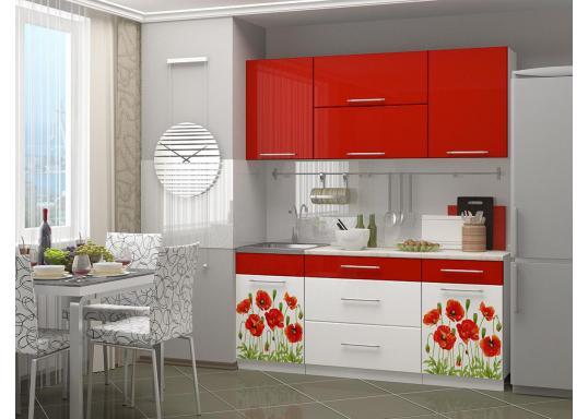 Кухня с фотопечатью Маки (1.8м) Красные